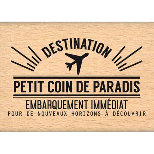 Capsule Août 2016 - Tampon Bois - Coin de paradis - 5 x 7 cm