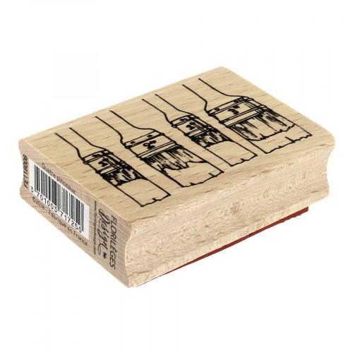 Tampon bois Quatre pinceaux - 5 x 7cm