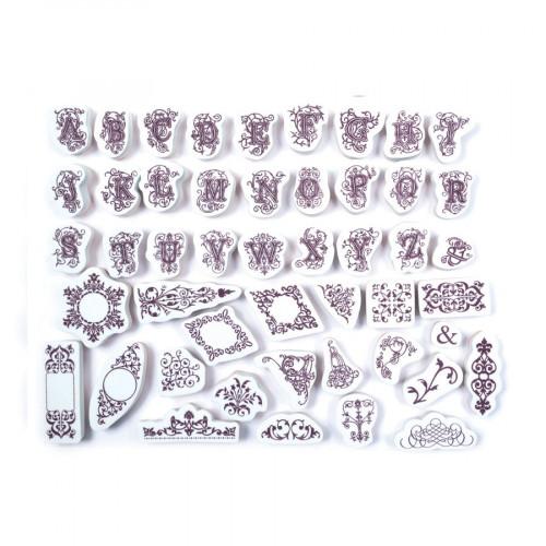 Tampon mousse - Set de 48 Tampons - Lettres et Ornements - M : 1.6 x 2 cm