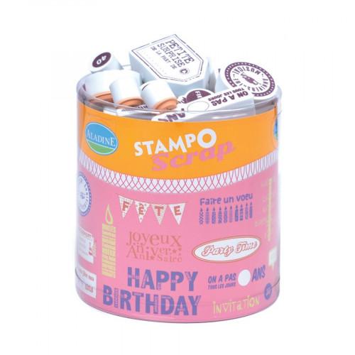 Tampon mousse - Set de 34 Tampons - Anniversaire - Jour J : 3 x 3.3 cm