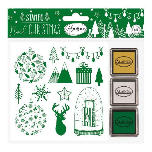 Stampo Noël Forêt Set de 12 tampons et 3 encreurs