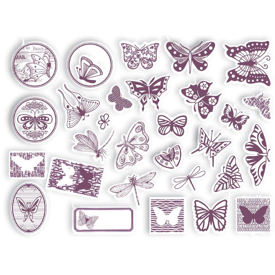 Set de 32 tampons mousse - Papillons
