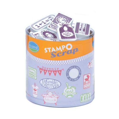 Tampon mousse - Set de 27 Tampons - Naissance - Cubes Baby : 1.5 x 4.3 cm