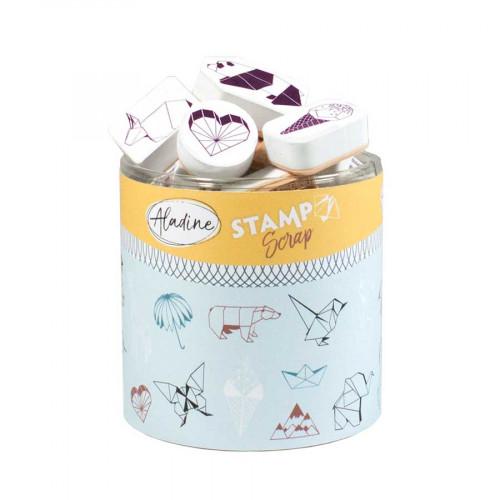 Encreur et 29 tampons Stampo Scrap Origami