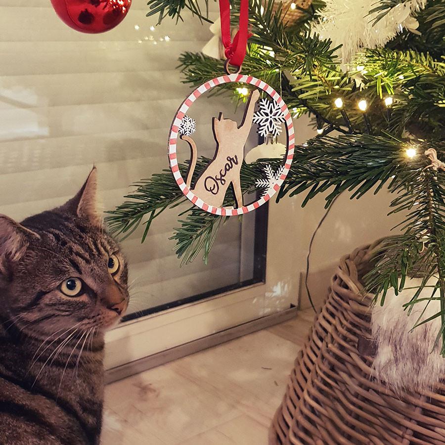 Boule de Noël chat personnalisée